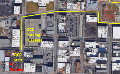 Queen City Century parking, start line, and first section of outbound route